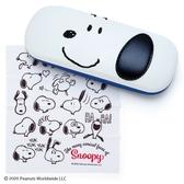 小禮堂 史努比 皮質硬殼眼鏡盒 附眼鏡布 皮質收納盒 小物盒 (米藍 美式漫畫) 4550337-78658