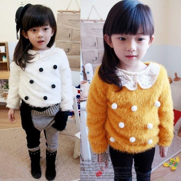 韓版《球球蕾絲領》羊羔絨~保暖長袖上衣