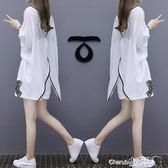 兩件套 洋氣棉麻短褲套裝歐洲站女裝寬鬆顯瘦休閒氣質兩件套【小天使】