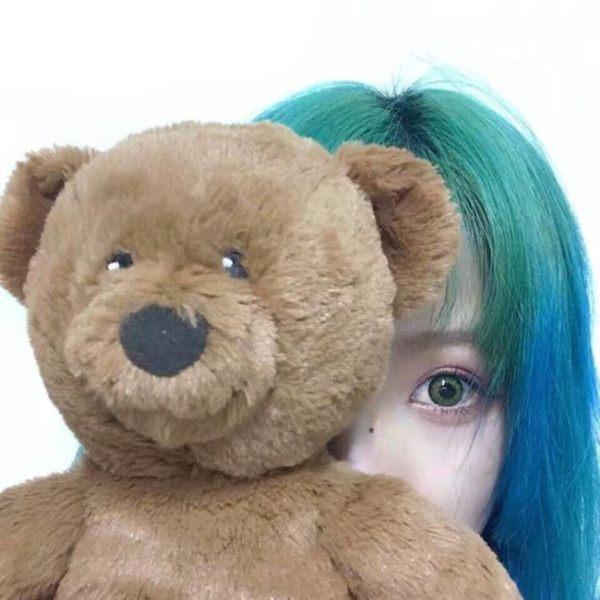 假髮女空氣劉海短直髮綠色漸變藍【奇趣小屋】