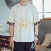 夏季國風男裝短袖男刺繡半袖潮流唐裝中袖胖子大碼  【快速出貨】