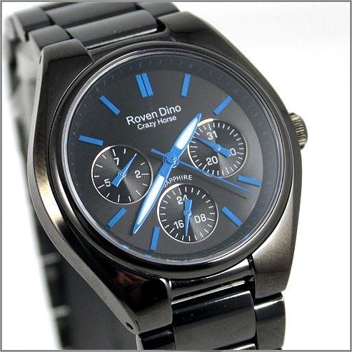 【萬年鐘錶】 Roven Dino 羅梵迪諾 楊丞琳代言 全黑藍字時尚錶 RD9803LB