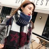 聖誕節格子圍巾韓版女英倫經典針織披肩新款2018秋冬季百搭學生兩用圍脖