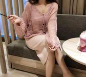 慵懶風簍空馬海毛針織毛衣外套 CC KOREA ~ Q17761