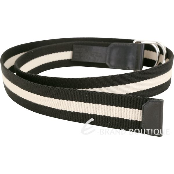 BALLY COPPER 雙D形環扣黑白條紋腰帶 1840245-01