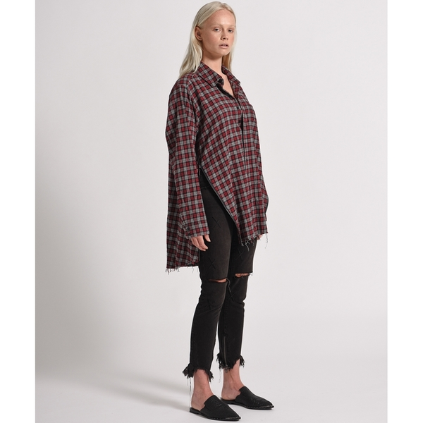 OneTeaspoon 襯衫 UPSIZED CHECK ZIP UP SHIRT-紅(女)
