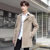 秋季男士風衣外套中長版韓版廓形大衣青年紳士商務男裝【繁星小鎮】