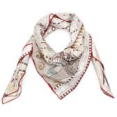 HERMES Voyage De PyTheas探索城市地圖真絲方型絲巾(米色)179169