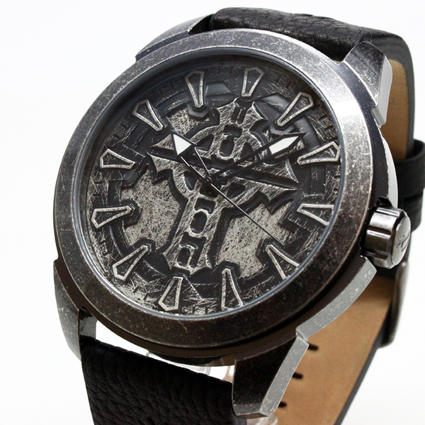 【萬年鐘錶】MYSTERY 仿中古銀黑鏽  黑棕皮帶 男錶 粗獷   大錶徑 48mm  14637JSQS-57