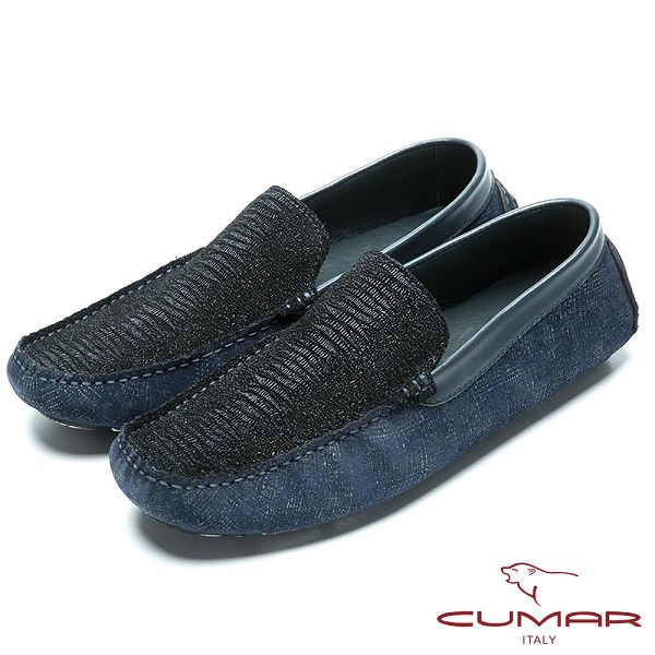 CUMAR 樂活時尚 動物壓紋牛皮帆船鞋-藍色