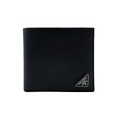【台中米蘭站】全新品 PRADA 經典銀三角鐵牌logo牛皮零錢袋短夾(2MO735-黑)