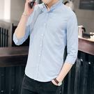 男士7七分袖襯衫薄款韓版修身潮流中袖休閒髮型師白色短袖襯衣男 店慶降價