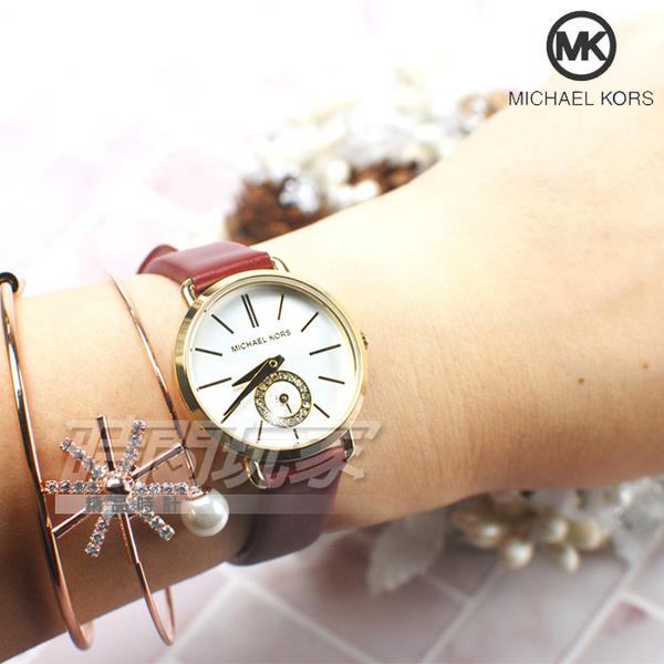 Michael Kors 公司貨 國際精品錶 MK 金屬時尚晶鑽 鑲鑽小秒盤 淑女錶 真皮 金色 MK2751