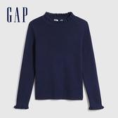 Gap女童 甜美木耳邊立領針織衫 618468-海軍藍