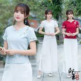 中國風繡花大尺碼修身短袖T恤棉麻上衣女【99狂歡購物節】