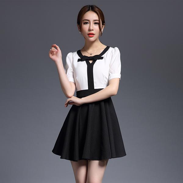 卡樂store...專櫃女洋裝韓版假兩件V領蝴蝶結A字裙連身裙 S-XL #ynn6627
