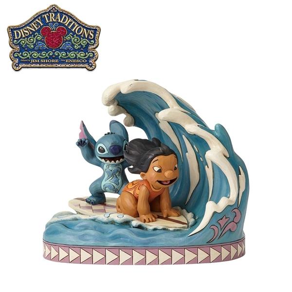 【正版授權】Enesco 史迪奇與莉蘿衝浪 塑像 公仔 精品雕塑 史迪奇 Stitch 迪士尼 Disney - 890274