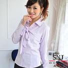 【SN-42EB-3】森奈健-優雅成熟OL吸濕排汗胸口綁帶長袖女襯衫(粉紫色條紋)