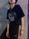 短袖T恤馨幫幫上衣2020新款原宿風韓版港風寬鬆短袖印花純棉黑色t恤女夏 小天使