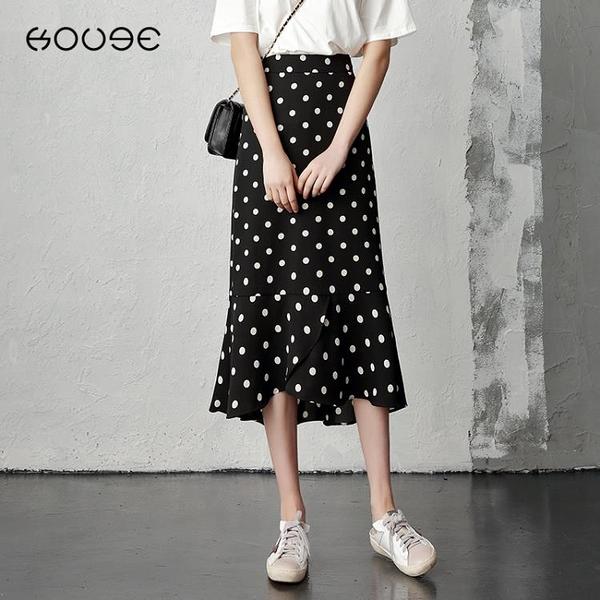 黑色波點半身裙女雪紡長裙2021新款高腰包臀裙中長款小碎花魚尾裙中秋特惠