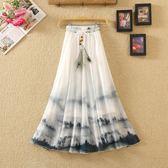 夏季波西米亞中長裙夏雪紡半身裙復古印花鬆緊腰 伊蒂斯女裝
