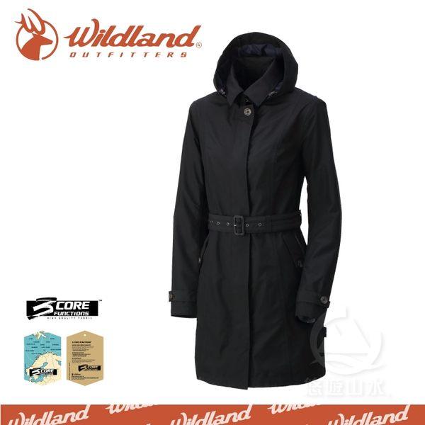 【Wildland 荒野 女 長版防水防風時尚外套《黑》】0A32909-54/防風外套/防水外套/風衣外套/休閒