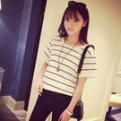 短袖針織衫-時尚條紋寬鬆百搭女T恤2色73hn3【時尚巴黎】