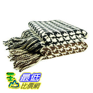 [美國COSCO] 喀什米爾圍巾(蒙古製) Wool and Cashmere Houndstooth Throw $7346