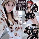 克妹Ke-Mei【AT62957】INS搞怪少女滿版熊熊印花寬鬆拉鍊連帽外套