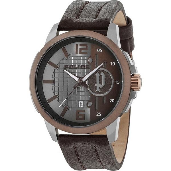 【台南 時代鐘錶 POLICE】義式潮流 低調沉穩魅力時尚腕錶 15238JSUBN-13 皮帶 咖啡 50mm