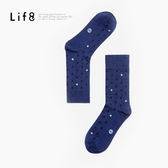 MIT 撞色圓點。棉質中筒襪-深藍【05140】