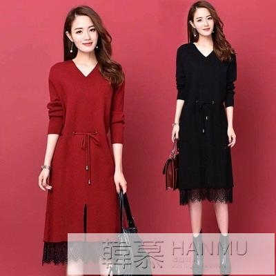 2020秋冬季新款毛衣裙長款過膝長袖針織打底衫顯瘦蕾絲洋裝女 女神購物節