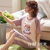 短袖居家服  2019夏季新款純棉睡衣套裝女甜美短袖七分褲家居服兩件套5262