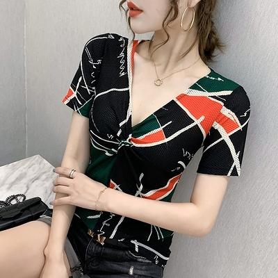 短袖修身T恤 V領印花時尚拼接小衫女潮性感上衣夏季款8901#H359紅粉佳人