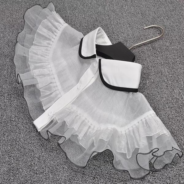 假領子領片 復古浪漫蕾絲披肩斗篷式洋裝大學T針織衫外套內搭白色[E1274] 預購.朵曼堤洋行