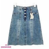 【SHOWCASE】韓版輕單寧前釦顯瘦剪裁膝上毛襬牛仔裙(藍)