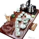 紫砂功夫茶具套裝家用全自動四合一茶道簡約整套陶瓷實木茶盤YYS  【快速出貨】