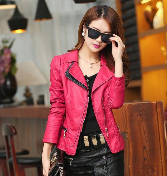 卡樂store...小中大尺碼PU皮衣韓版皮夾克大翻領修身顯瘦 2色 玫紅色 S-5XL #sh1306
