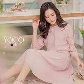 東京著衣【YOCO】氣質美人荷葉小立領鑽飾蕾絲袖洋裝-S.M.L(180184)