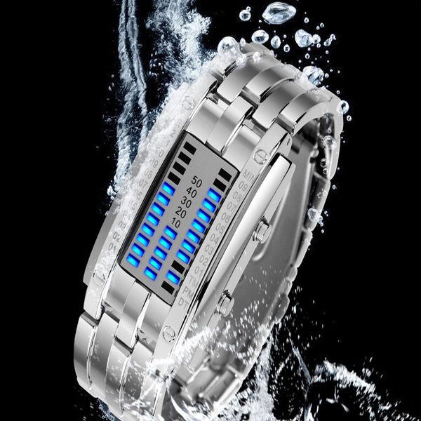 【00019】 二進制LED防水金屬錶 情侶對錶 電子錶 禮品