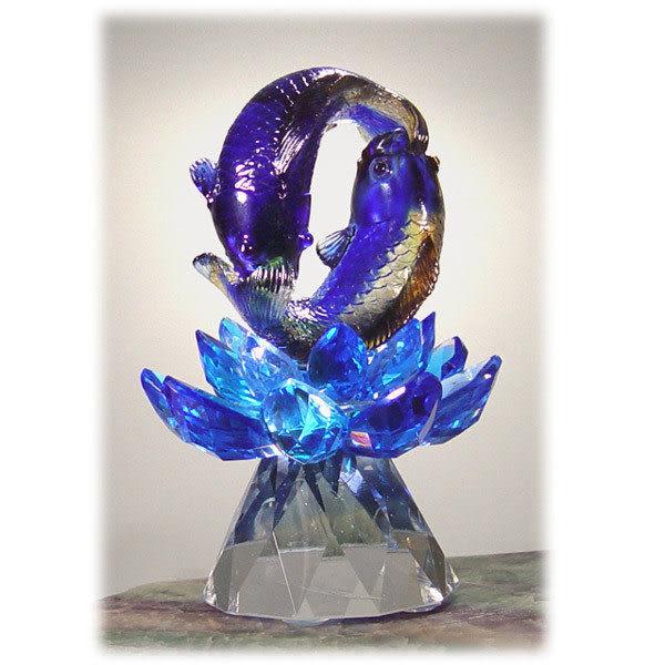 鹿港窯~居家開運水晶琉璃【雙魚戲蓮】附古法制作珍藏保證卡◆免運費送到家