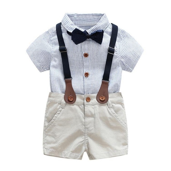 男童春夏藍色領結背帶褲寶寶短袖紳士禮服中小童花童洋氣抓周服潮
