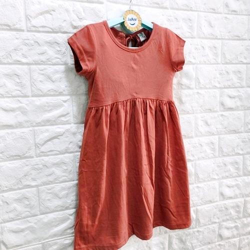 ☆棒棒糖童裝☆(S30619磚紅)夏女童磚紅色背綁帶素面氣質洋裝 3-13