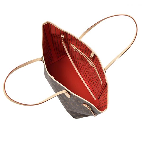 【雪曼國際精品】LV M41177 NEVERFULL MM 經典花紋子母束口購物包.櫻桃紅─全新現貨
