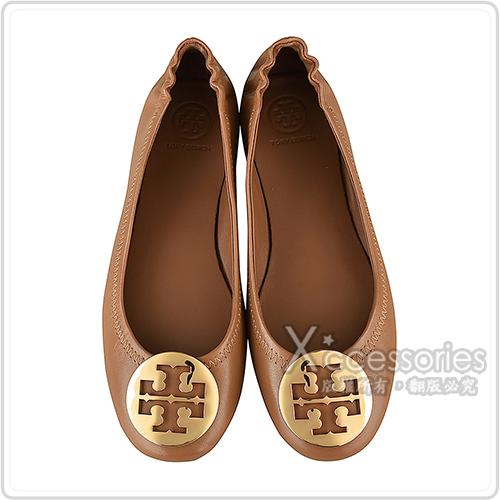 TORY BURCH MINNIE TRAVEL金字LOGO納帕皮革可折疊平底鞋(棕)