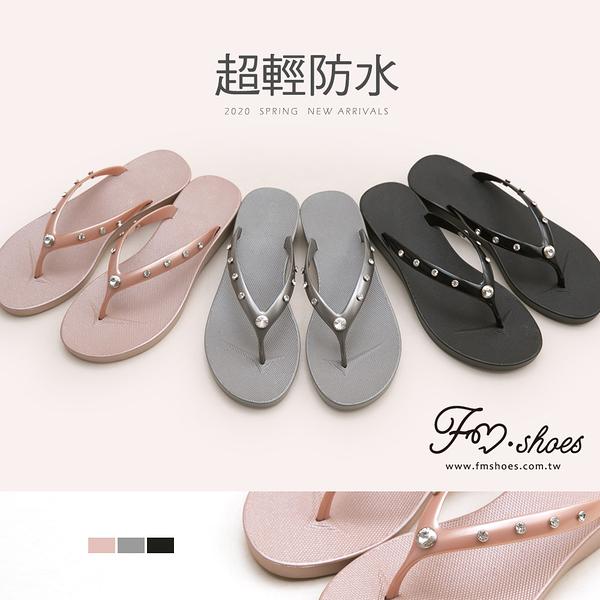 拖鞋.水鑽楔型人字拖鞋(銀、黑)-FM時尚美鞋.Salient