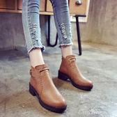 現貨出清 高跟短靴 學生黑色圓頭高跟馬丁靴英倫風裸靴女鞋厚底粗跟短筒短靴潮   2-26YXS