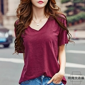 【2件】短袖t恤衫韓版寬鬆V領純棉體恤顯瘦打底簡約竹節棉女夏季【時尚大衣櫥】