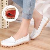 平底小白鞋鏤空媽媽鞋大碼女鞋豆豆鞋