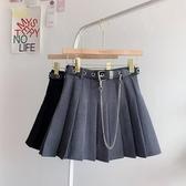 新款黑色百摺裙女秋季工裝半身裙高腰短裙顯瘦A字裙ins裙子潮